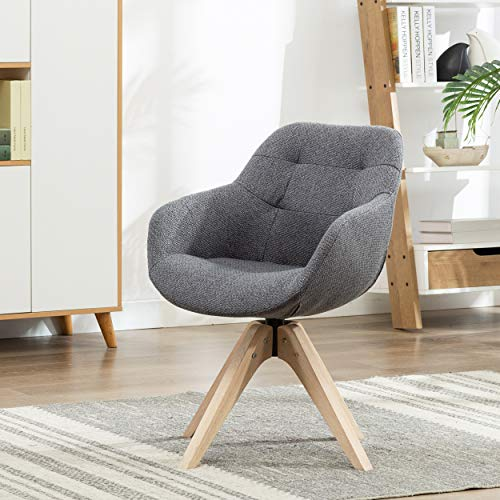 KINWELL Swivel Armchair Contemporary Fabric Accent Chair Dining Chair Tufted Back with Sturdy Oak Wood Legs for Small Space Home Office Slim Adult, Grey