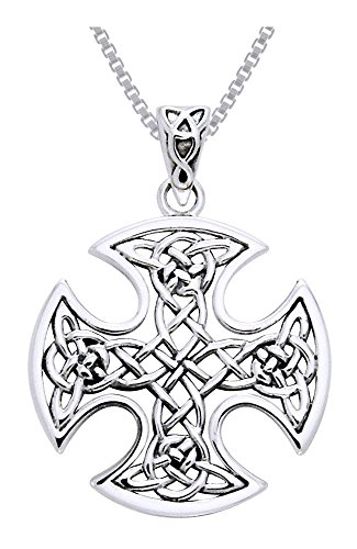 Jewelry Trends Sterling Silver Celtic Knot Cross Pendant Necklace 18'