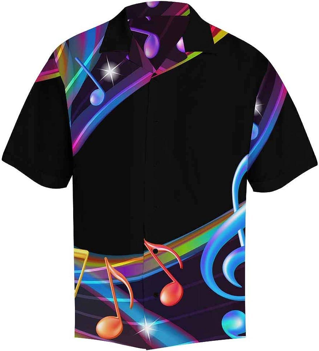 InterestPrint Men's Casual Button Down Short Sleeve Fantasy Music Clef Hawaiian Shirt (S-5XL)