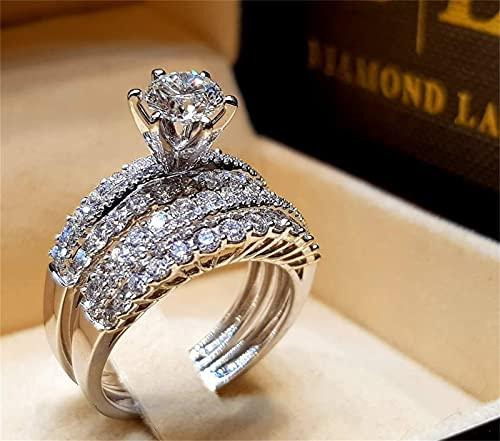Cubic Zirconia Ring White Zircon Ring Women Index Finger Ring Couple Ring...