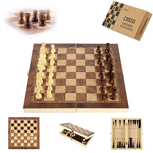 Sunshine smile Schachspiel aus Holz,3 in 1,Tragbare Holz Schachbrett,Chess Board Set klappbar,Schachspiel Für Party Familie Aktivitäten,Schachspiel,Schach Schachbrett Holz hochwertig