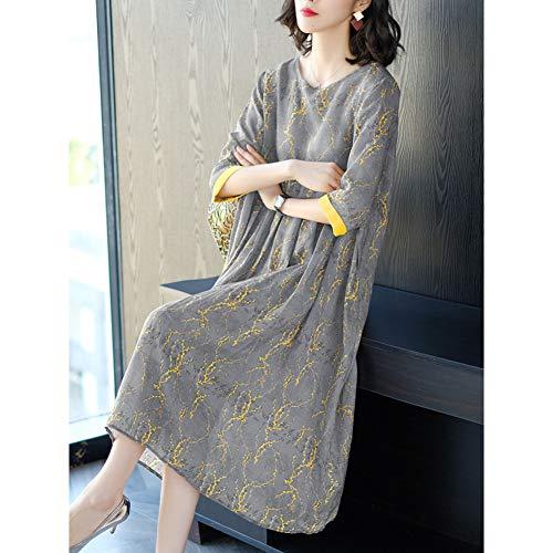 BINGQZ Cocktailjurken Dames grote maat bedekt buik jurk los katoen en linnen in Changchun zomer pure castor rok