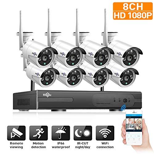 Wangoofun Draadloze beveiligingscamera, 1080P 8 kanalen, 8 weerbestendige IP-camera's met nachtzicht-app, plug play, P2P zonder harde schijf