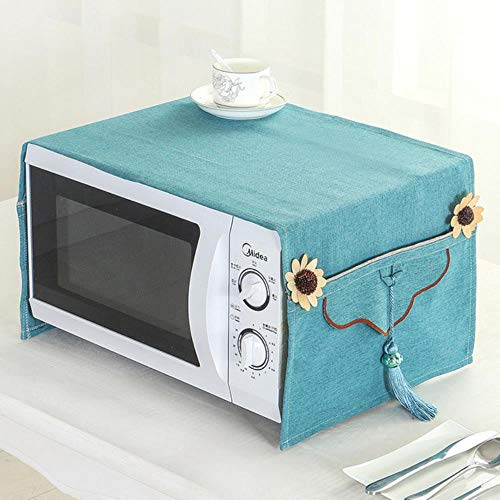Miner Micro-Ondes Four Cover Four Season General British Linen Micro-Ondes Four Dust Cover Handcraft Kitchen Accessories Decoration Home, Blue, 35x100cm