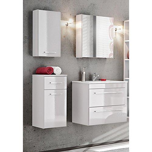 Lomadox Badmöbel Set 4-teilig, Hochglanz weiß, inkl. Keramik-Waschtisch, Spiegelschrank, Midischrank, Hängeschrank und Unterschrank