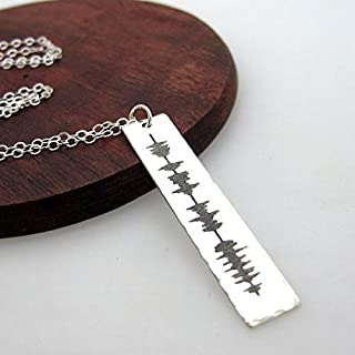 Unique SoundWave Engraved Necklace, Custom Soundwave Engraved Pendant - Gift Idea - Personalized Jewelry - Unusual Gifts for her