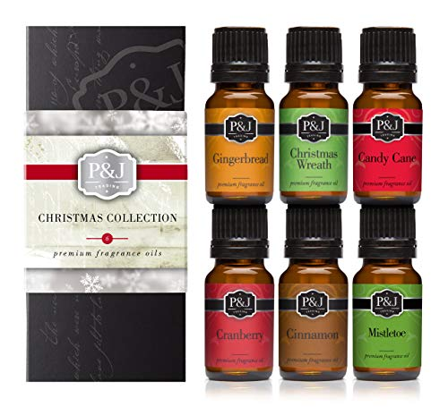 Christmas Set of 6 Premium Grade Fragrance Oils - Christmas Wreath, Mistletoe, Candy Cane, Gingerbread, Cinnamon, and Cranberry - 10ml