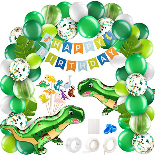 157 Pieces Dinosaur Balloons Garland Kit Green Balloon Arch Garland Dinosaur Foil Balloons Cupcake Topper Happy Birthday Banner Tropical Palm Leaves for Dino Jungle Jurassic Party (Open-mouthed Dino)