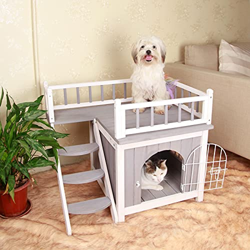 Petsfit Indoor Dog House Balcony Two Story Wooden Dog Houses with Door and Pet Stair