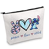 JXGZSO Stitch Love Gift Hawaiian Bags Party Peace Love Stitch Cosmetic Bag With Zipper Ohana Makeup Bag