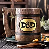 Dungeon and Dragons Mug. Dungeon Master Mug. D&D Gift. Wooden Beer Stein. Best Gift. Gamer Wooden Beer Mug. Gamer Gift, Beer Tankard Gift K90 /0.6L / 22 ounces