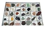 Mineralien Rohsteine Edelsteine Sammlung 40 Stück einzeln benannt z.B. Rosenquarz Bergkristall Amethyst Fluorit.(2152)