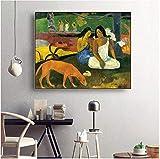 La niña en la isla de Tahití Famoso lienzo Pintura al óleo Póster Sala de estar Decoración de la pared Arte Pintura Decoración del hogar Pintura 40x60cm Sin marco