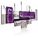 DekoArte 242 - Cuadros Modernos Impresión de Imagen Artística Digitalizada | Lienzo Decorativo para Tu Salón o Dormitorio | Estilo Abstracto Moderno Colores Gris Morado Blanco | 5 Piezas 180x85cm XXL
