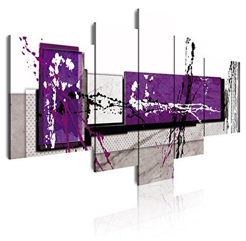 DekoArte 242 - Cuadros Modernos Impresión de Imagen Artística Digitalizada   Lienzo Decorativo Para Tu Salón o Dormitorio   Estilo Abstracto Moderno Colores Gris Morado Blanco   5 Piezas 180x85cm XXL