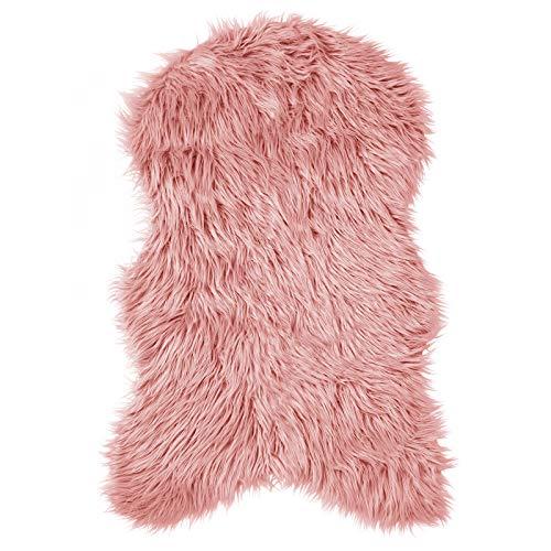 Pure Label Schaffell- Lammfell- Kunstfell Teppich für Wohn und Schlafzimmer. Als Deko Faux Fell auf dem Sofa/Stuhl oder als Bett-Vorleger (Rosa/Altrosa - 55 x 90 cm)