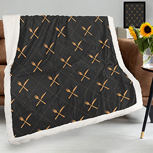 Manta de franela grande con diseño de cuchillo y tenedor, súper suave, cálida y acogedora, decorativa para el hogar, manta mullida de 60 x 50 pulgadas, para sofá de cama, 2.5 libras