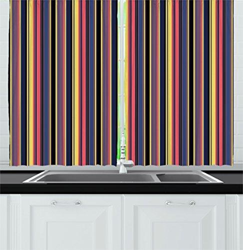 Ambesonne Modern Kitchen Curtains, Colorful Geometric Stripes Lines Vintage Retro Style Fashionable Design Art Print, Window Drapes 2 Panel Set for Kitchen Cafe Decor, 55' X 39', Pink Blue