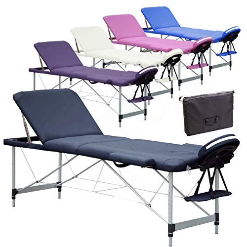 Lettino per Massaggi 3 Zone Alluminio 195x70 Cm Portatile Pieghevole Angoli Arrotondati Rinforzati Nero