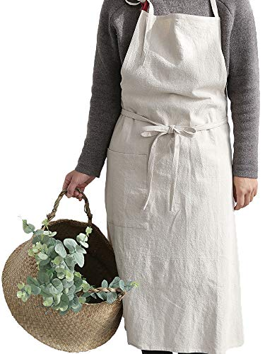 Uheim Premium Free Size Linen Bib Apron Adjust Kitchen Apron with Large Pocket 9 Colors for Women and Men Smocks for Women Japanese Cooking Style Apron, Apron for Chef (Beige)