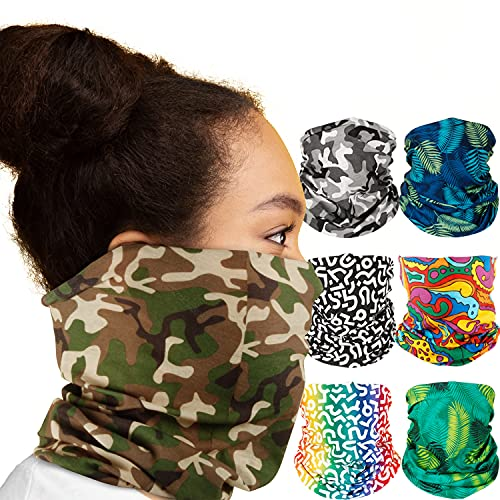Chillbo Neck Gaiters 7 Pack. Neck Gaiter Face Mask Men and Women with 7 Stylish Patterns for Each Day - Windproof and Reusable Gaiter Mask.