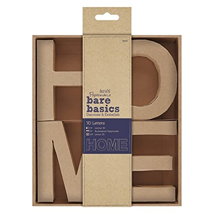 DOCrafts PMA174071 Home Papermania Bare Basics 3D Letters (4 Pack), 10cm, Brown
