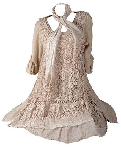 Italy Donna Damen Winter Spitze Mohair Twinset 3tlg Lagenlook Tunika Kleid Schal Strickkleid Unterkleid Pullover Wolle 40 42 44 46 M L Creme (42)