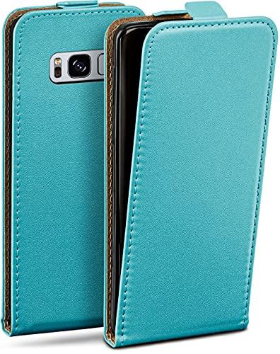 moex Flip Hülle für Samsung Galaxy S8 - Hülle klappbar, 360 Grad Klapphülle aus Vegan Leder, Handytasche mit vertikaler Klappe, magnetisch - Türkis