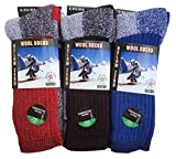 6-Pairs Men's Wool Thermal Socks Fits 10-13 Winter Outdoor 'Heavy Duty' USA