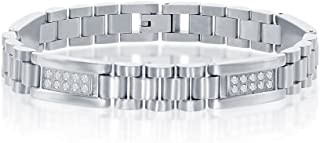 """Men's Simulated Diamond CZ 8.5"""" Link Bracelet Rhodium Plated/Gold Plated Stainless Steel Jewelry for Men"""