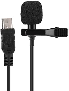 Bewinner1 Mini Camera Microphone,Collar Clip Capacitor Microphone, Portable Ribbon Lapel Microphone for DSLR Camera Live Broadcast Recording Interview Singing Music