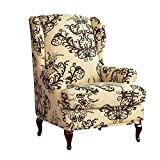 WAQIA Elegant Wing Chair Slipcovers Stretchy Wing Back Armchair Sofa Covers, Floral Printed Slipcovers for Wingback Chair Furniture Protector in Living Room, with A Seat Cushion Cover (Coffee)