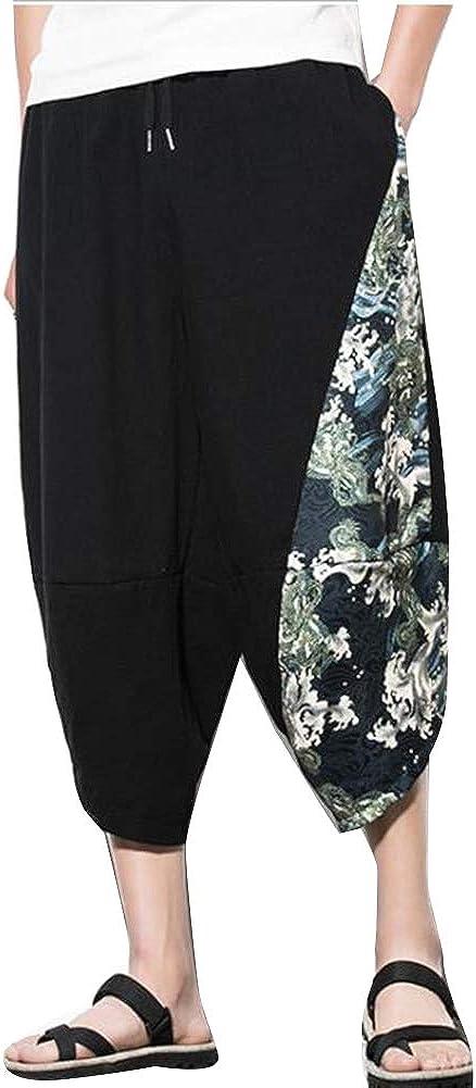 Runyue Homme /Ét/é Pantacourt Capri Pantalon Jambe Large Short de Plage Style Japonais avec Motif