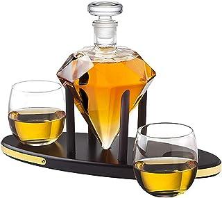 Whisky Dekanter Diamant Set Mit 1000 Ml Bleifreiem Glas Design Mit 2 Cocktail Whisky Gläsern Karaffe Mit Holzständer & Luftdichtem Glass Stopper, Scotch, Rum, Bourbon, Wodka, Tequila, Wein, Likör