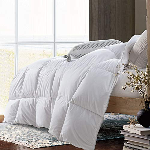 HOMBYS 106'x90' White Goose Feather Down Comforter King Size Duvet Insert ,600+MM,250 Thread Count 100% Hypo-allergenic Ultra Soft Oeko-TEX 100 Cotton Cover Down Proof with 8 Corner Tabs