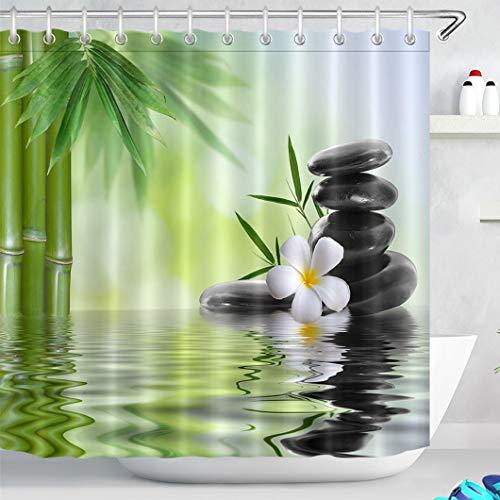 LB Spa Duschvorhang mit Haken, Schwarze Steine Orchideen Bambus Wasser Badvorhang, 180W x180H cm, Wasserabweisend Waschbar Anti-Schimmel Polyester Fabrik