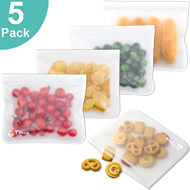 Reusable Storage Bags - 5 Pack Leakproof Reusable Sandwich Bags - EXTRA THICK Reusanle Snack Lunch Bag - BPA FREE Reusable Ziplock Bag for Food Storage Make-up Travel Home Organization Eco-friendly