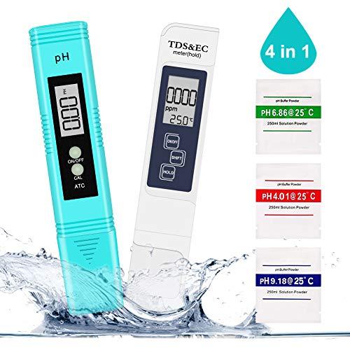 PH Messgerät, Winzwon Digital PH TDS EC Temperatur 4 in 1 Set Wasserqualität Tester(ATC) mit Hoher Genauigkeit und LCD Display, PH Wert Messgerät für Trinkwasser, Schwimmbad, Hydroponic, Aquarium