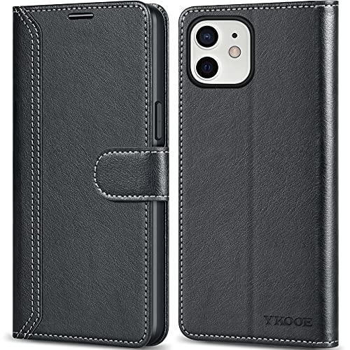 ykooe Handyhülle für iPhone 12 Hülle, iPhone 12 Pro Hülle, Hochwertige PU Leder Handy Schutz Hülle für iPhone 12 Flip Tasche, Schwarz