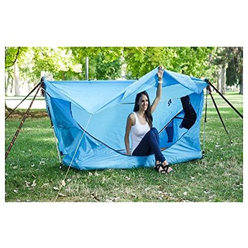 Backboards Camping Hamaca,Nylon Ligero Conjunto de Carpas de Toldos,Resistente Intemperie Hamaca Colgantes,Patio Viaje Playa, con Cojín Inflable,Blue,with Awning