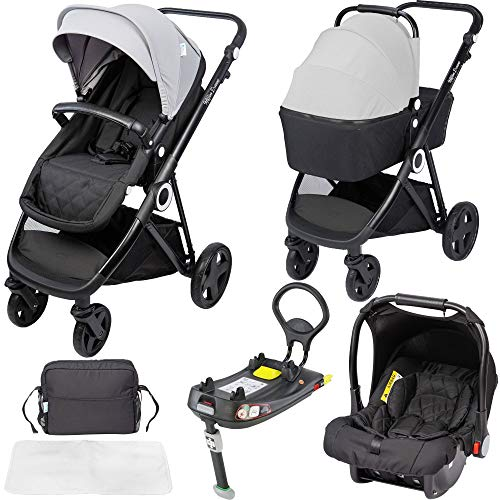 The Million Dreams 3 in 1 Travel System with Isofix Base - Grey inc Pushchair, Newborn Car Seat,...