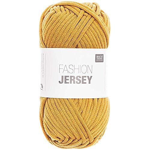 Rico Fashion Jersey Fb. 018 senf, Jersey Bändchengarn, Sommerwolle, Schlauchgarn zum Stricken & Häkeln