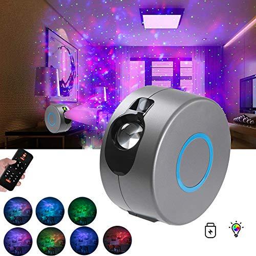 FOWYJ Bunte LED-Projektionslampe Sternenhimmel-Projektor 3D Vision LED-Nebel-Licht Dynamische Projektion mit Fernbedienung Geeignet für, Weihnachten, Geschenke der Kinder