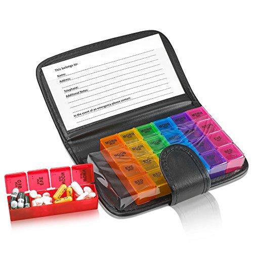 Pillerorganiserare veckovis – Recept- och medicineringsplånbok påminnelse om piller, en extra stor tablettbehållare dispenser väska, Caddy Organizer, för 4 gånger om dagen, 7 dagar i veckan, 18 x 10 cm