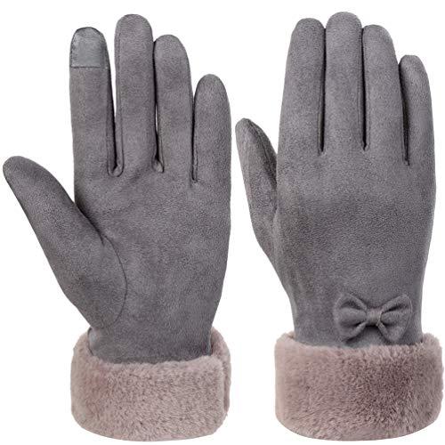 Vbiger Damen Winter Handschuhe Touchscreen Handschuhe Erweiterte Eleganz Verdickt Kalt Wetter Handschuhe Casual Handschuhe für Party Wandern Reisen Und Radfahren, Grau, L