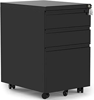 Merax 3-Drawer Mobile File Cabinet with Keys, Fully Assembled Except Casters (Black)