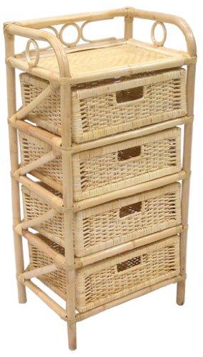 Savino Fiorenzo cassettiera in legno e bambù 4 cassetti naturale