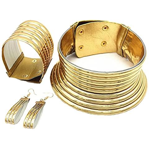 Onsinic Accesorios Africanos África National Snap Gargantilla Collar De Oro Tono De Oro para Mujeres Hombres Regalo De Cumpleaños De Navidad