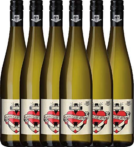 VINELLO 6er Weinpaket Weißwein - Glaube-Liebe-Hoffnung Riesling 2019 - Bergdolt-Reif & Nett mit Weinausgießer | trockener Weißwein | deutscher Sommerwein aus der Pfalz | 6 x 0,75 Liter