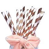 BOFA Glänzende Papier Trinkhalme mit Rosegoldenen Streifen für Hochzeiten und Geburtstage, Papiertrinkhalme für Party-Tischdekorationen,...